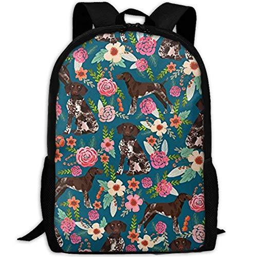 German Shorthaired Pointer Floral Dog School Rucksack College Bookbag Unisex Travel Backpack Laptop Bag -