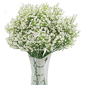 LNHOMY Artificial Gypsophila Real Touch Flowers Baby Breath Fake Silk Plants Wedding Party Home Garden Decoration DIY Flower 10 PCS (Cream) 76