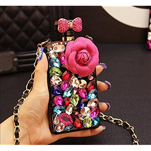 Galaxy S7 Edge Bling Case,Fusicase New Luxury 3D Handmade Saprkle Rhinestone Diamond Bow Bowknot With Camellia Flower Creative Sales