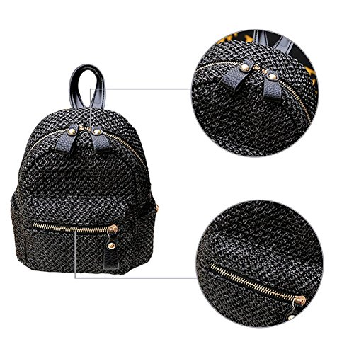 Shopping Bag Beach Lady Mini Beach Bag Bag Shoulder Weave brown Backpack Bag Colinsa Hollow Straw Black Straw Fashion X5qwnnfH