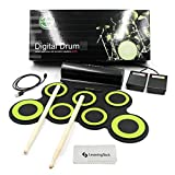 JouerNow 7 Pads Updated Electronic Roll Up Drum Pad Kit, Waterproof Silicone Foldable Digital Hand Roll Drum Set with Sticks & Foot Pedals, USB Powered, Support Computer Music Games