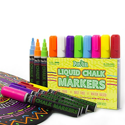 Chalk Markers for Chalkboard by PAVLIN – Reversible Tip (6mm Ball or Chisel tip) Set of 8 Colored Erasable Chalkboard Pens – For Classroom, Bistros, Cafes – Non-Toxic & Dust-Free Chalk Ink Marke