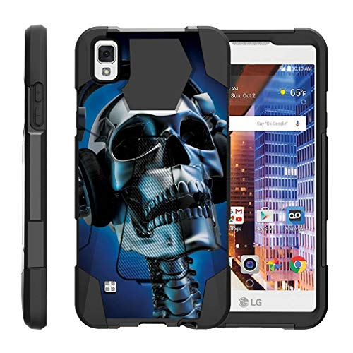TurtleArmor | Compatible with LG Tribute HD Case | LG Volt 3 | LG X Style [Dynamic Shell] Absorber Impact Shock Shell Cover Hybrid Gel Hard Kickstand Music - Skeleton Headphone (Lg Volt 4g Lte Case)
