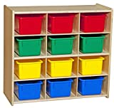 Contender C16123 Baltic Birch 12-Cubby Storage Unit with Colorful Tubs, RTA (Pack of 12)