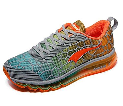 Onemix Mannen Lucht Loopschoenen Sportschoenen Met Luchtkussen Sneakers Schoenen Licht Grijs / Oranje