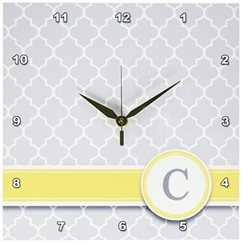 3dRose dpp_154569_1 Your Personal Name Initial Letter C Monogrammed Grey Quatrefoil Pattern (Gray Clock Plate)