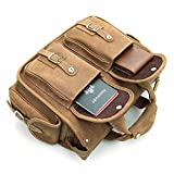 Acecle Men's Vintage Briefcase Laptop Bag Cowhide Crazy Horse Leather Handcrafted Multifunction All-in-one Business Handbag Messenger Shoulder Tote Bag For 14 Inch Laptop