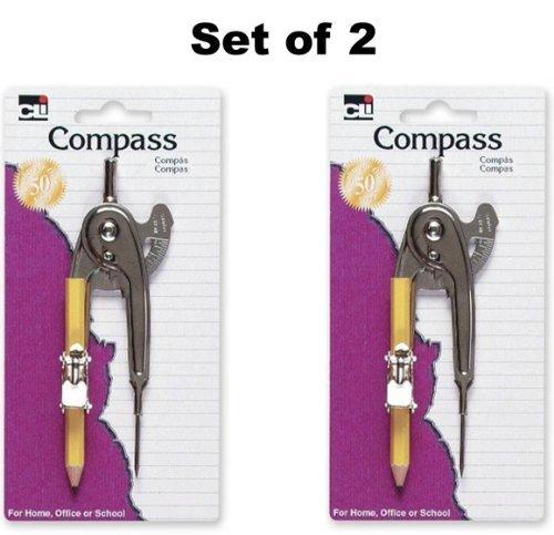 Set of 2 Charles Leonard Inc. Ball Bearing Compass, Metal, 1/Card (80360) (Ball Compass Bearing)