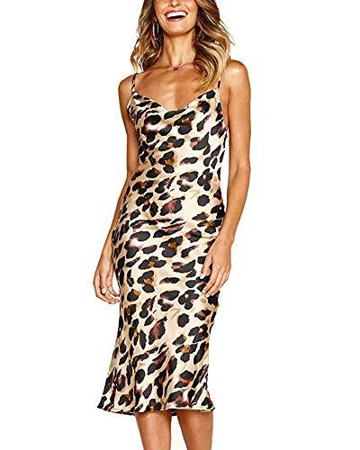 Moxeay Womens Cowl Neck Backless Spaghetti Strap Cocktail Bodycon Midi Dress (XL(US/8), Leopard Print)