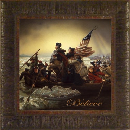 Believe By Emanuel Leutze Todd Thunstedt 17.5x17.5 Patriotic George Washington Crossing Delaware River American President Declaration of Independence Bible Marines Framed Art Print Wall Décor Picture