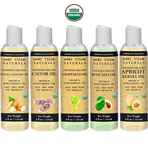 Organic Carrier Oil Set, 4 oz Each, USDA Certified Organic, Castor Oil, Avocado Oil, Apricot Oil, Sweet Almond Oil and Grapeseed Oil, Premium Quality Top 5 Gift Set by Mary Tylor Naturals ()