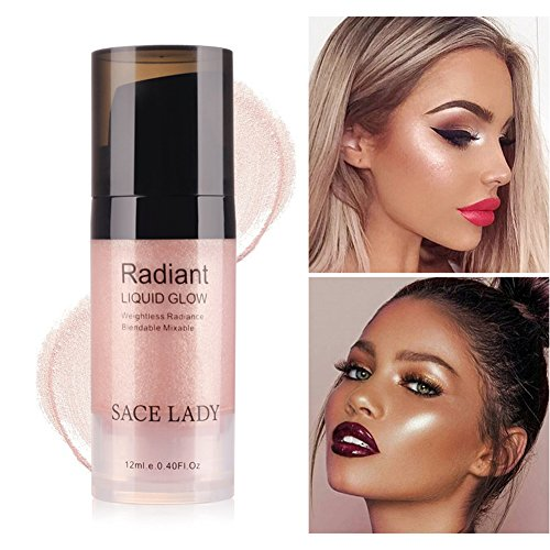 Strobing Liquid Highlighter Makeup Smooth Shimmer Glow Liquid Illuminator for Face Contour Makeup (3.Peach Champagne)