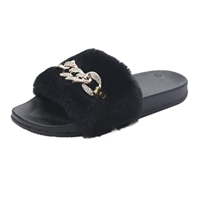 99f2d303572f LHWY Ladies Slip on Sliders Fluffy Faux Fur Gold chain decoration Flat  Slipper Flip Flop Sandal