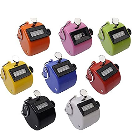 Kubert Hand Held Tally Counter 4 Digit Mechanical Palm Clicker Counter / Assorted Color Handheld Tally Counter 4 Digit Display for Lap/Sport/Coach/School/Event (Pack of 8)