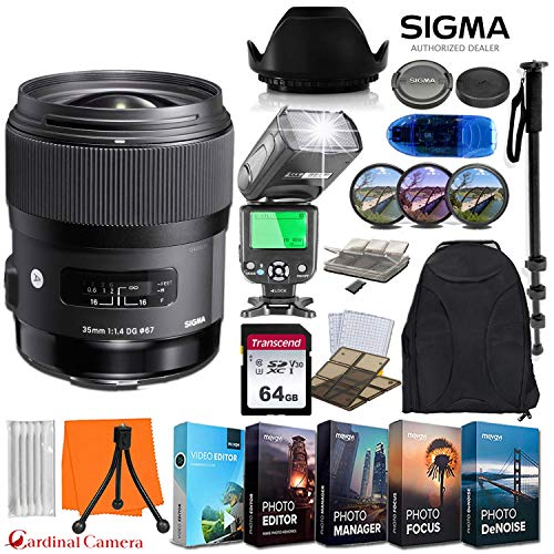 Sigma 35mm f/1.4 DG HSM Art Lens for Canon EF w/ 64GB Memory Card + Photo/Video Editing Software + Video TTL Flash & Exclusive Travel Accessory Bundle