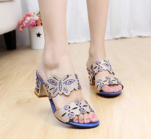 Toe Papillon Femmes Strass Glitter Platform B Minetom Chunky Mules Bleu Peep Bloc Heel Sandales q61gn8x