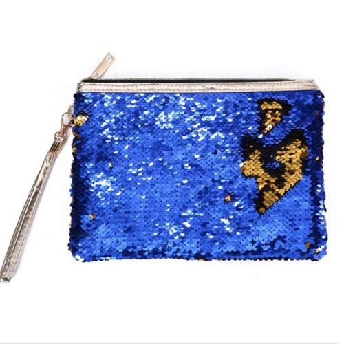 Travel Cosmetic Bag Mermaid Sequin Makeup Pouch Wash Organizer Storage Purse (Colour - #1 Mermaid Sequin - Navy Blue)