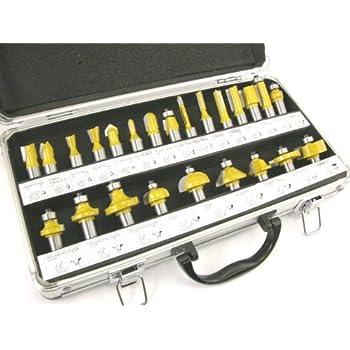 ROUTER BITS SET - 24 pieces 1/2 shank CARBIDE Aluminum Case NEW by EDMBG