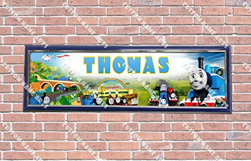 Personalized Customized Thomas the Train Poster With Frame, With Your Name On It, Party Door Poster, Room Art Decoration, Wall Decor
