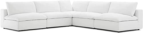 Modway Commix Down Filled Overstuffed 5 Piece Sectional Sofa Set, Corner Chair Four Armless Chairs, White