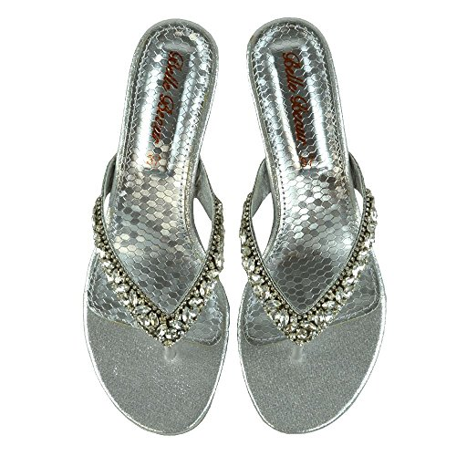 ESSEX GLAM Womens Wedge Sandals Diamante Toe Post Holiday Evening Formal Sandals Silver wObARCiDbG
