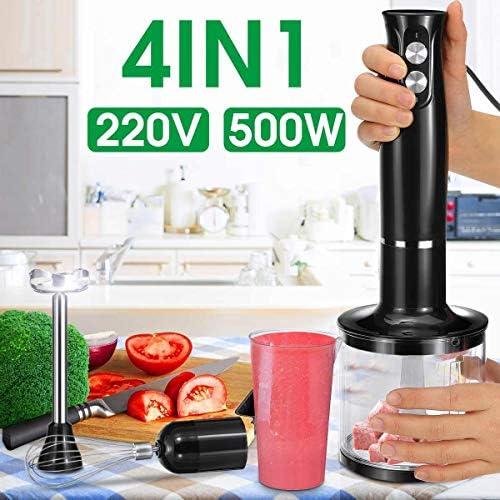 YJXD 500W Blenders 2 Vitesses 4-en-1 bâton à la Main en Acier Inoxydable Mixer Oeufs Fouet jus de légumes Moulin à Chopper avec 700ml Becher