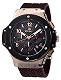 Carrie Hughes Men's Watches Chronograph Military Sports Watch Gold Steel Case Big Dial Silicone Luxury Watches