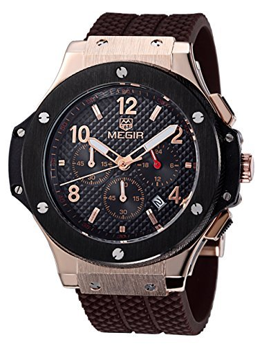 Carrie Hughes Men's Watches Chronograph Military Sports Watch Gold Steel Case Big Dial Silicone Luxury Watches by Carrie Hughes