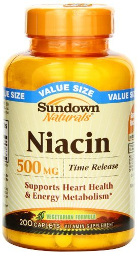 Sundown Naturals Niacin Vitamin Supplement Caplets, 500mg, 200 count - Buy Packs and SAVE (Pack of 3) by Sundown Naturals