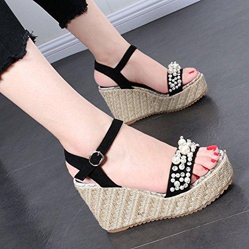 GTVERNH Coreana sandalias de cuña de ratán, verano chunky pearl paquete toe hebilla palabra raíz Roma zapatos black