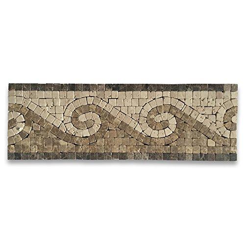 (Surf Emperador 4x12 Marble Mosaic Border Listello Tile Tumbled)