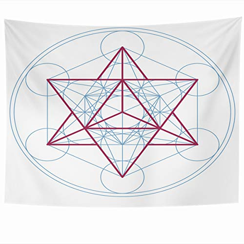 Ahawoso Tapestry Wall Hanging 60x50 Inches Creation Tetrahedron Merkaba Metatrons Cube Sacred Geometry God Abstract Merkabah Star Flower Life Home Decor Tapestries Art for Living Room Bedroom Dorm