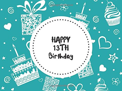 """Happy 13th Birthday: Aqua Celebration Guest Message Book 