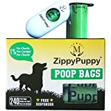 240 Biodegradable Dog Poop Bags with Stylish Universal Dispenser ($5.99 Value Included) with 16 Refill Rolls. Bags are 15 Microns Thick and Strong. ZippyPuppy (Trademarked) Pet Pooper Scooper Bags are Large, Extra Strong and Earth Friendly. Doggie Waste Bags are 13x9 Inches (LxW) and 15 bags per Roll. Bag is Dark Green, Unscented, Leak-Proof, Perfect for all Poop Sizes, Easy to Open and Detach Bag from Roll in the Winter as well. Box made of Recycled Materials. Enjoy Pick-up Bags.