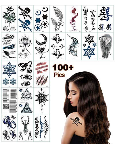 - Temporary Tattoo Stickers for Women, Kids, Men, Girls,couple - 100+ Different Transfer Stickers, Fake Tattoos Waterproof, Tattoo Stickers with Moon, Star, Skull, Leaf, Scar, Cross, bar code