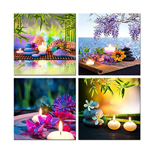 Canvas Spa - Hello Artwork Canvas Prints Zen Art Wall Decor Spa Massage Treatment Painting Picture Orchid Flower Frangipani Bamboo Flaming Candle Print On Canvas 4 Panel Ready to Hang 12''x12''x4pcs