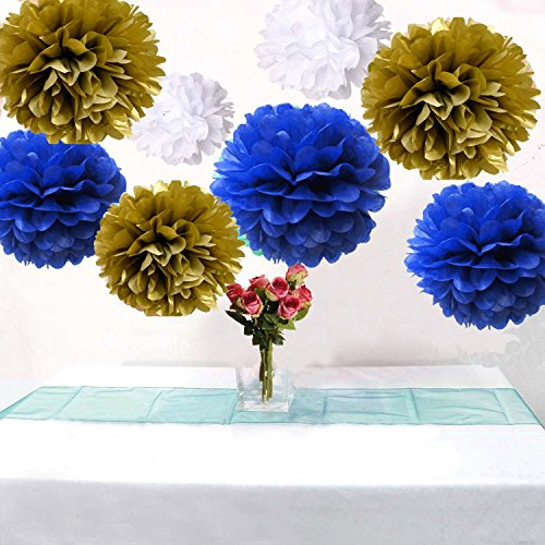 Set of 9 Mixed Gold Royal Blue White Tissue Paper Pompoms Flower Ball Wedding Engagement Prince Baby Shower Garland Party (Prince Baby Shower Decorations)