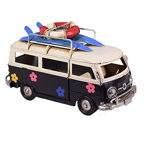 EliteTreasures Retro Metal Collectible Black Hippie Van Model - Camper Beach Bus Figurine - Flower Power Classic Tabletop ()