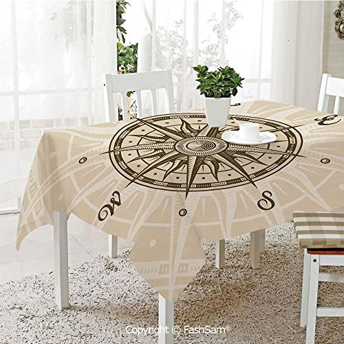 AmaUncle Party Decorations Tablecloth Sun Motifs Backdrop with Sepia Windrose Directions East West North South Navigation Decorative Kitchen Rectangular Table Cover (W60 xL104) -