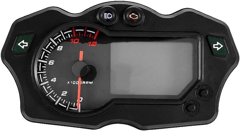Kimiss Dc 12 V Universal Motorrad Lcd Digital Display Tachometer Kilometerzähler Elektronische Einstellbare Drehzahlmesser Auto
