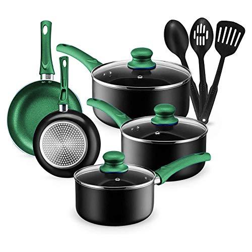 Chef's Star Pots And Pans Set Kitchen Cookware Sets Nonstick Aluminum Cooking Essentials 11 Piece Green