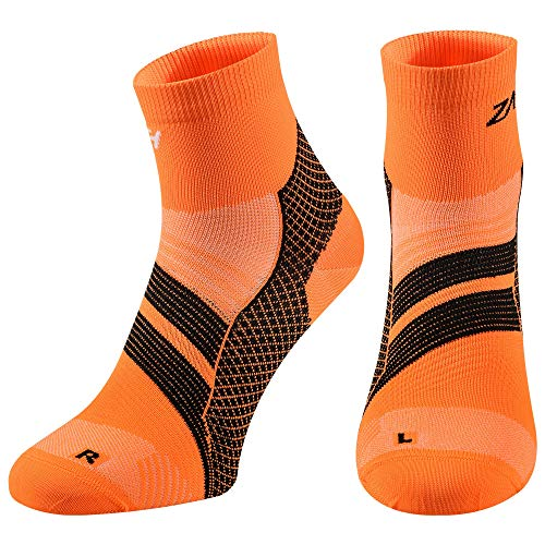 ZaTech Plantar Fasciitis Sock, Compression Socks (Orange/Black, (Best Plantar Fasciiti Sock)