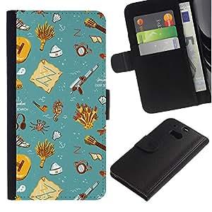 Stuss Case / Funda Carcasa PU de Cuero - Gift Teal Wallpaper Clean Kids - HTC One M8
