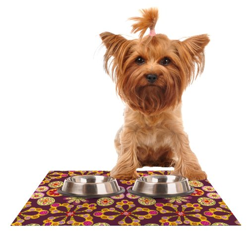 KESS InHouse Jane Smith Indian Jewelry Floral  Purple gold Feeding Mat for Pet Bowl, 24 by 15-Inch