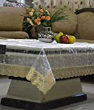 Kuber Industries Transparent 3D Design Center Table Cover 4 Seater 40*60 Inches (Golden Lace)