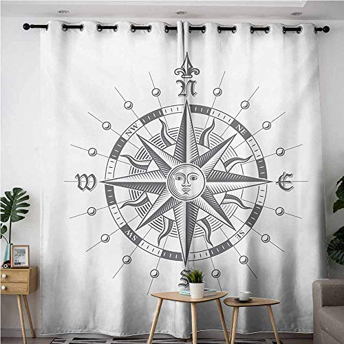 AndyTours Sliding Door Curtains,Compass,Hand Drawn Compass with The Face of The Sun on Directions North South East West Sailing,Blackout Draperies for Bedroom,W108x72L,Grey -