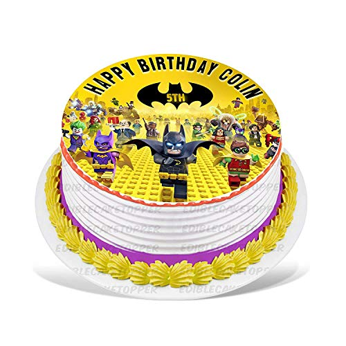 """EdibleInkArt Lego Batman Edible Cake Topper Personalized Birthday 6"""" Round Circle Decoration Party Birthday Sugar Frosting Transfer Fondant Image ~ Best Quality Edible Image for Cake"""