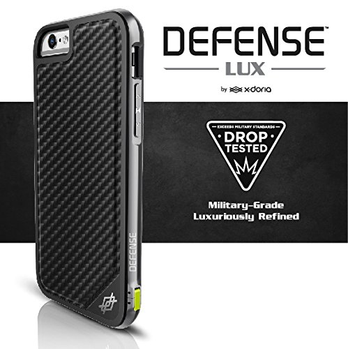 finest selection ae6e1 ca79c X-Doria Case for iPhone 6s and iPhone 6 (Defense Lux), Military Grade Drop  Tested iPhone Case, TPU & Aluminum Premium Protective Case (Black Carbon ...