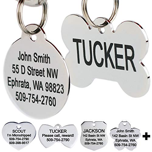 Stainless Steel Pet Id Tags, Personalized Dog Tags & Cat Tags. Up to 8 Lines of Text - Engraved Front & Back. Bone, Round, Heart, Flower, Shield, House, Star, Rectangle, Bow Tie. from GoTags