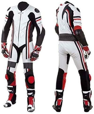 SMALL Motorcycle New White//Black One piece Track Racing Bikers Professional Suit CE Approved Protection